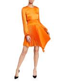 A.L.C. Behati Pleated Long-Sleeve Asymmetric Dress