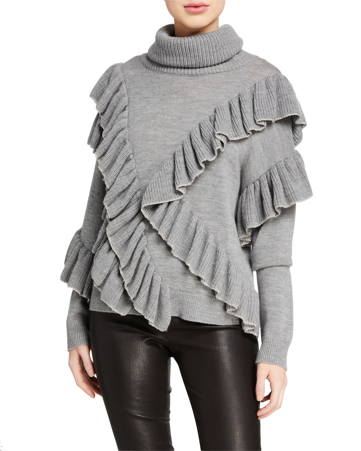 Alice And Olivia Sweaters LIBBIE RUFFLED PULLOVER SWEATER