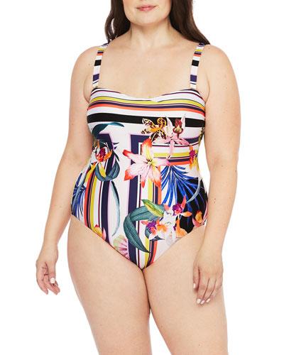 Plus Size Treasure Cove Bandeau One-Piece Swimsuit