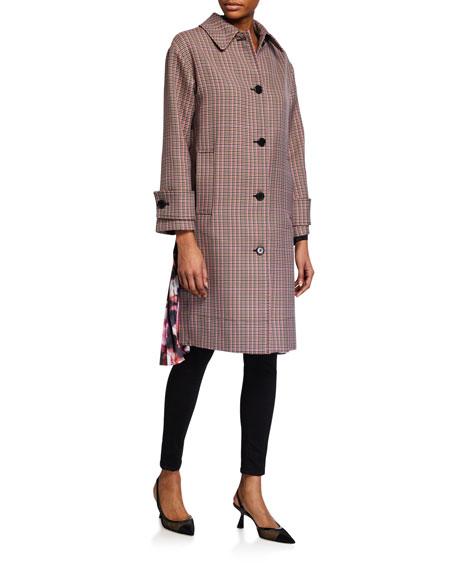 MSGM Cappotto Plaid Coat w/ Pleats
