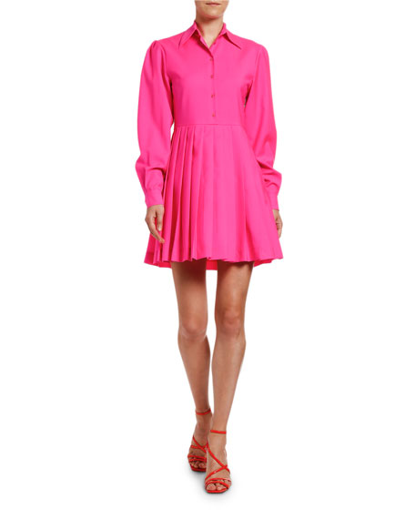 MSGM Abito Long-Sleeve Dress Shirt with Pleated Skirt