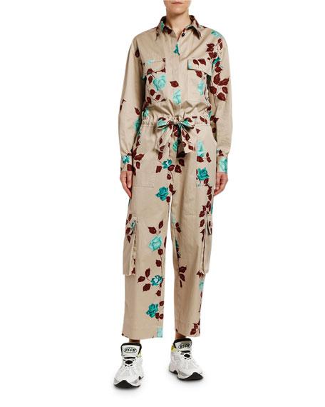 MSGM Tuta Floral Long-Sleeve Jumpsuit