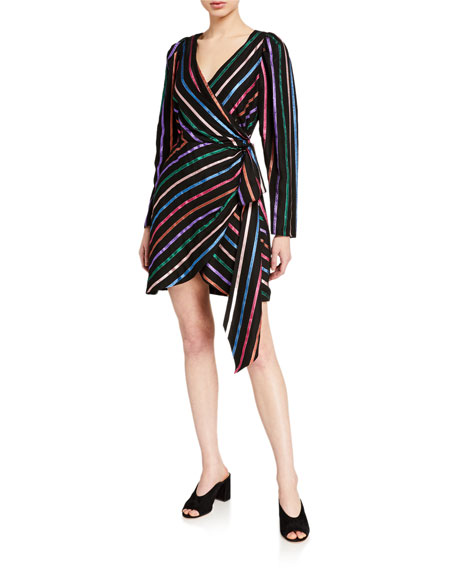 Tanya Taylor Magnolia Stripe Wrap Dress