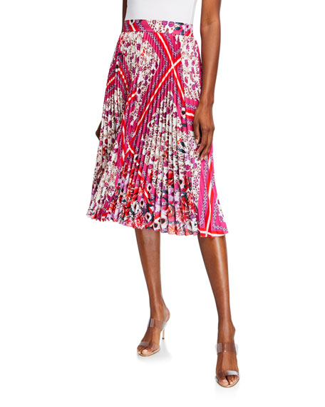 Elie Tahari Delilah Multi-Patterned Pleated Skirt