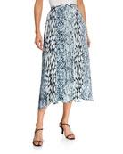 Elie Tahari Alex Pleated Midi Skirt