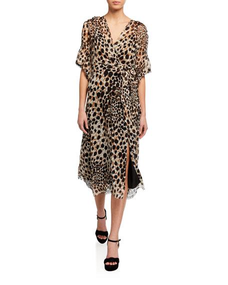 Elie Tahari Ava Leopard-Print Short-Sleeve Dress