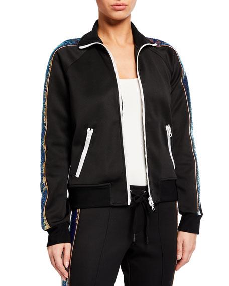 Pam & Gela Sequined-Stripe Zip-Front Track Jacket