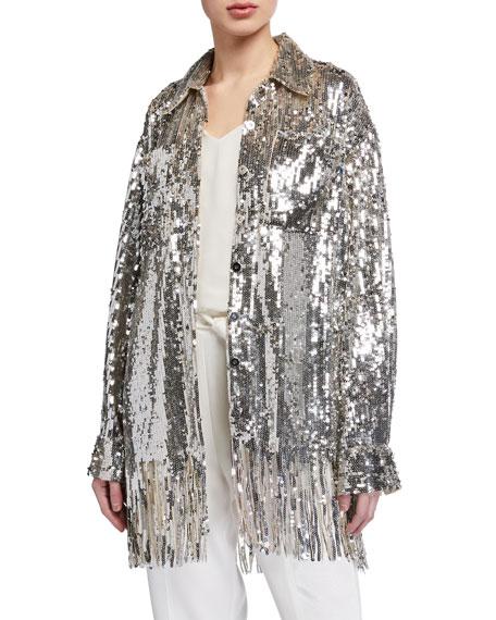 PINKO Sequined Shirt Jacket w/ Fringe
