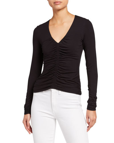 Kelby Ruched Long-Sleeve Top
