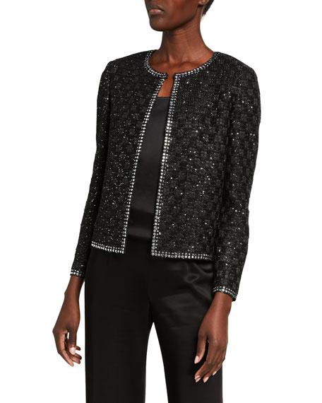 St. John Collection Sequined Basket-Weave Evening Jacket