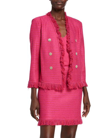 St. John Collection Poppy Textured 3/4-Sleeve Jacket