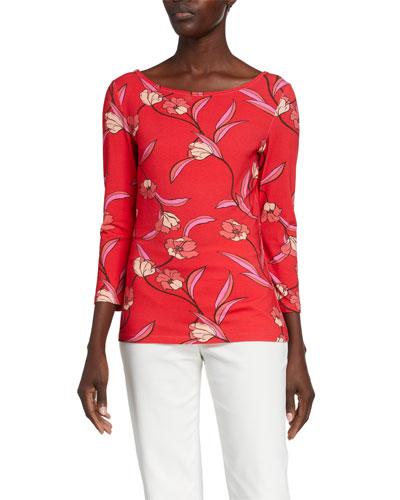 Spring Floral Print Jersey Boat-Neck T-Shirt