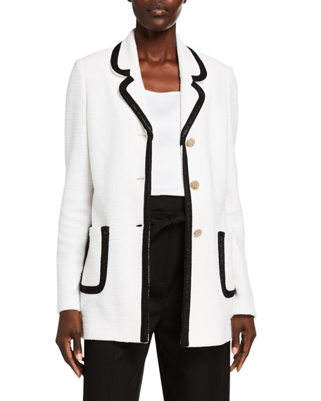 St. John Collection Luxury Boucle Knit Long Jacket