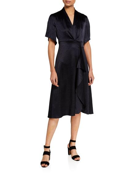 Elie Tahari Shiran Short-Sleeve Satin Dress
