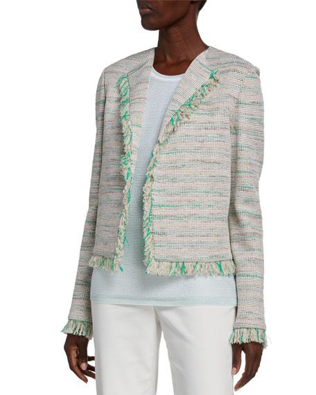 St. John Collection Ombre Tweed Fringe-Trim Jacket
