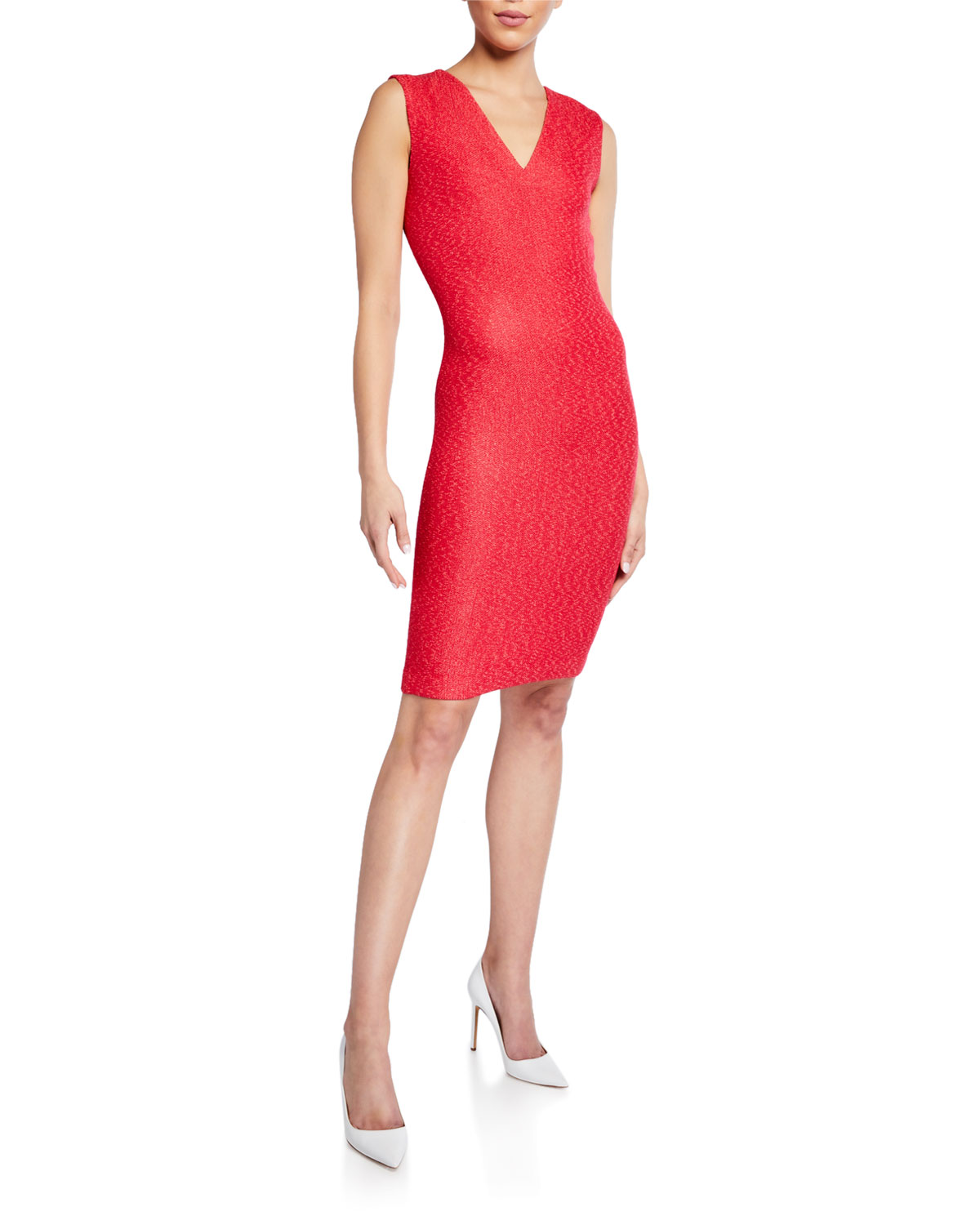 St. John V-NECK REFINED KNIT BODYCON DRESS