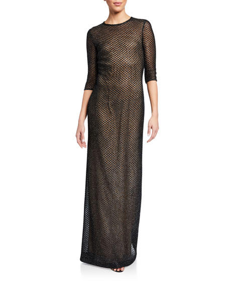 St. John Collection Metallic Diamond Lace Knit 3/4-Sleeve Gown