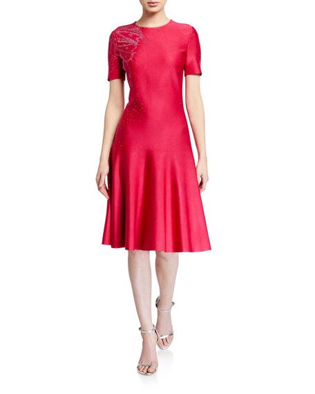 St. John Collection Liquid Milano Knit Short-Sleeve Dress w/ Sequin Detail