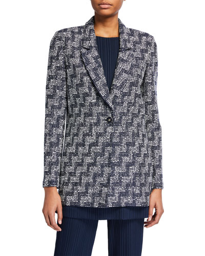 Stepped Wicker Inlay Long Jacket