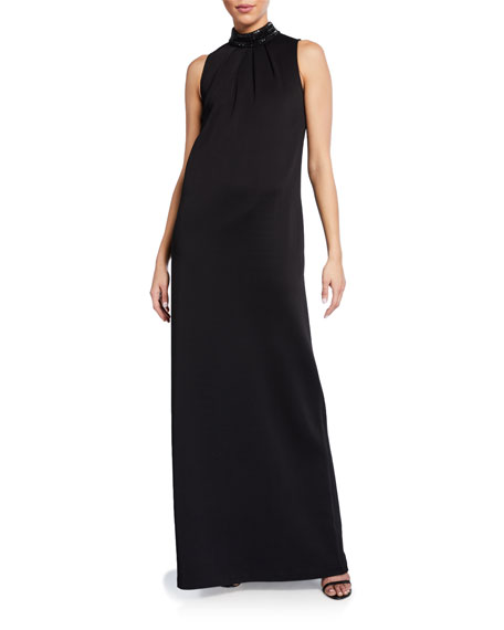 St. John Collection Liquid Milano Knit Mock-Neck Gown