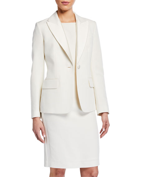 St. John Collection Tuxedo Faille Jacket with Mikado Lapel