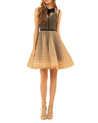 Charlotte Dotted Sheer-Bodice Bow-Neck Mini Tulle Dress