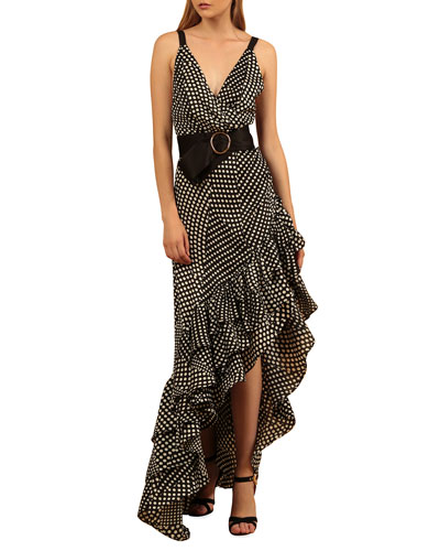 Aubrey Dotted High-Low Belted Ruffle Maxi Dress