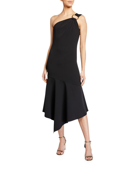 Shoshanna Eonia One-Shoulder Jet Midnight Stretch Crepe Gown