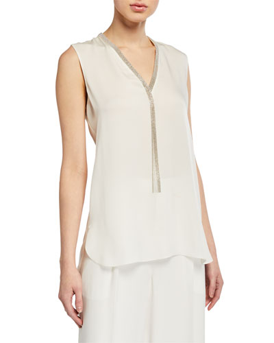 Emamra Sleeveless Silk Shirt w/ Fringe Trim