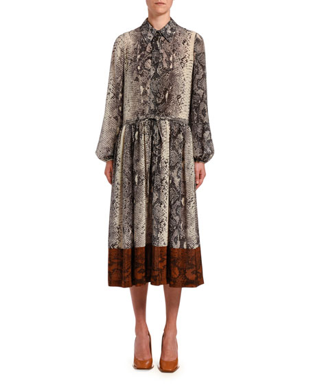 No. 21 Snake-Print Silk Midi Dress