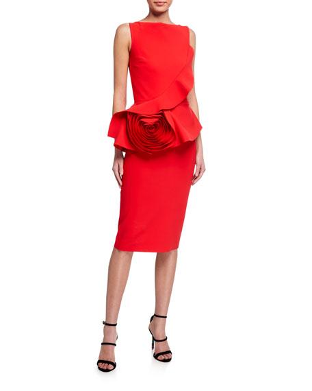 Chiara Boni La Petite Robe Morny Sleeveless Geranium Rose Detailed Peplum Dress
