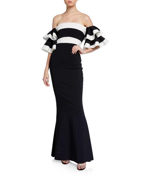 Chiara Boni La Petite Robe Two-Tone Off-the-Shoulder Ruffle-Sleeve Mermaid Gown