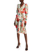 Badgley Mischka Collection Floral Balloon-Sleeve Dress with