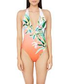 Trina Turk Costa De Prata Plunging One-Piece Swimsuit