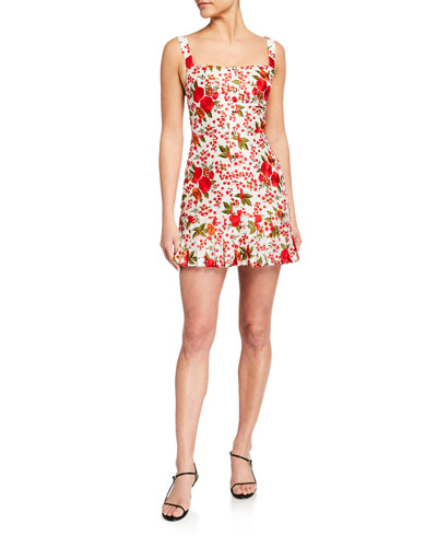 Melora Rose-Print Pleated Mini Dress