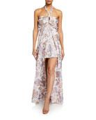 Alexis Falana Printed High-Low Halter Dress