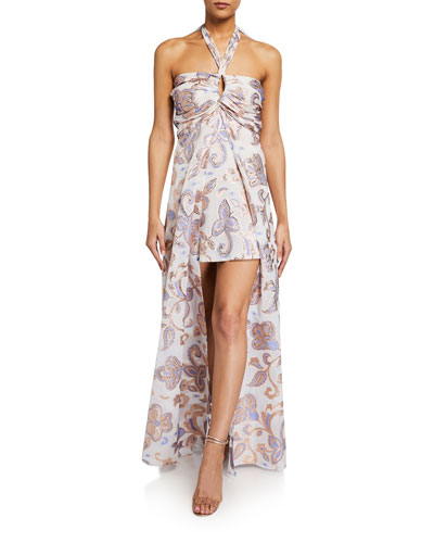 Falana Printed High-Low Halter Dress