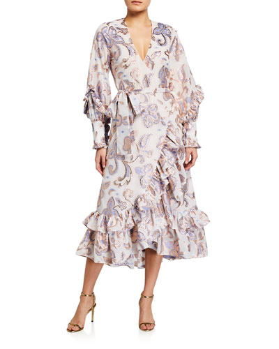 Abessa Printed Ruffle Wrap Dress