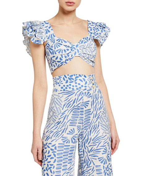 Alexis Verna Printed Flutter-Sleeve Top