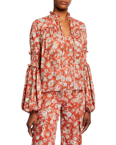 Zaria Floral Button-Front Long-Sleeve Top
