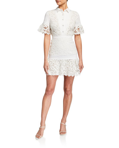 Liberty Collared Short-Sleeve Lace Dress