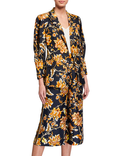 Maria Floral One-Button Silk Jacket