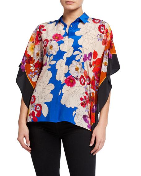 Kobi Halperin Isadora Floral-Print Button-Front Silk Blouse
