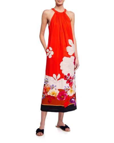 Coral Floral Halter Dress