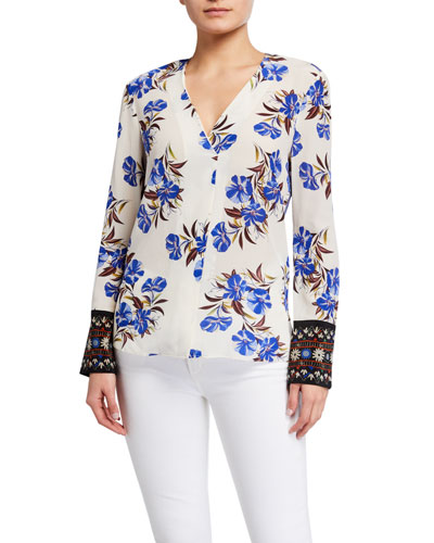 Andes Floral Long-Sleeve Silk Blouse