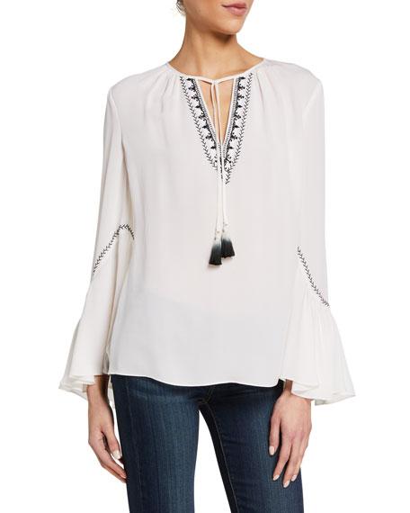Kobi Halperin Solana Long-Sleeve Silk Blouse