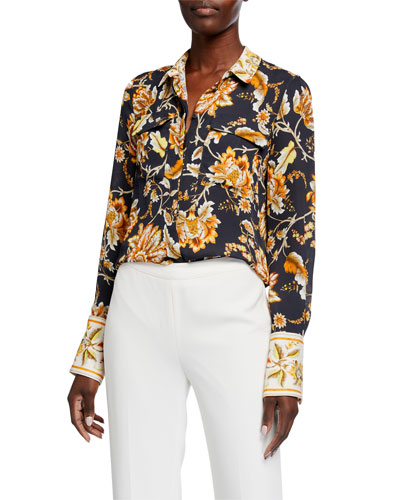 Alisa Floral-Print Silk Button-Down Blouse