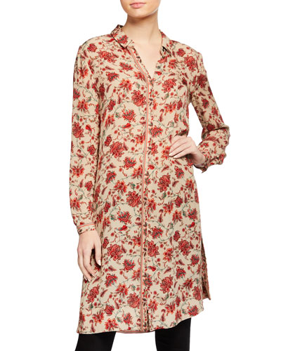 Coralie Floral-Print Long Silk Blouse