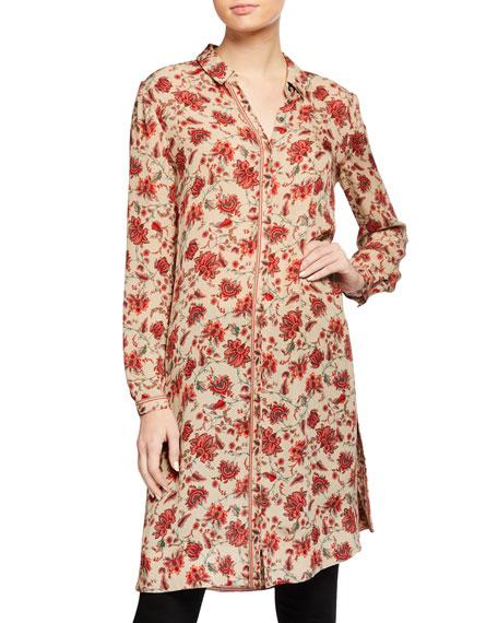 Kobi Halperin Coralie Floral-Print Long Silk Blouse