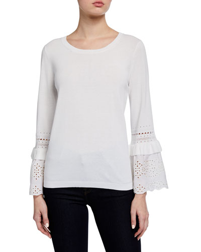 Claudette Eyelet Bell-Sleeve Sweater